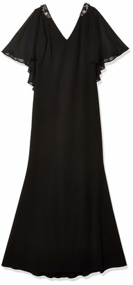 Jessica Howard JessicaHoward Women's V-Neck Gown with Cape Back