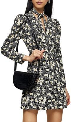 Topshop Tie Neck Floral Print Long Sleeve Minidress