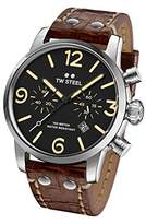TW Steel Men's 'Maverick' Quartz Stainless and Leather Casual Watch, Color:Brown (Model: MS4)