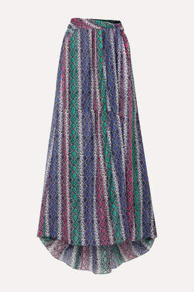 Caroline Constas Hera Snake-print Silk And Cotton-blend Voile Maxi Skirt - Purple
