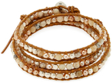Chan Luu Pearl Beaded Leather Wrap Bracelet