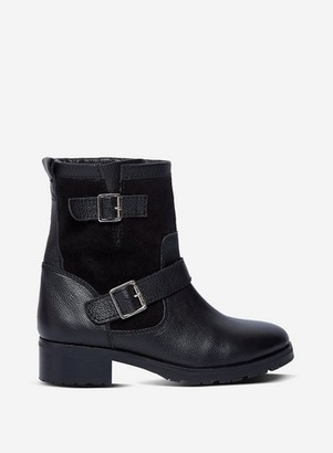 Dorothy Perkins Womens Black Leather 'Orca' Biker Boots, Black