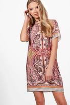 boohoo NEW Womens Faith Paisley Woven Shift Dress in Polyester