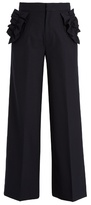 Muveil Ruffle-trimmed high-rise trousers