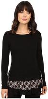 Karen Kane Plaid Inset Sweater