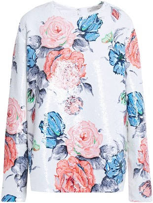 Nina Ricci Sequined Floral-print Georgette Blouse