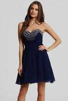 Little Mistress Navy Embellished Prom Dress