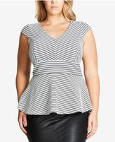 City Chic Trendy Plus Size Striped Peplum Top
