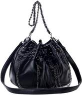 Win8Fong Fashion Design Skull PU Leather Tassels Shoulder Handbag Purse Backpack