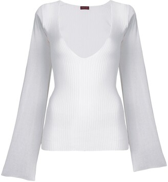 Romeo Gigli Pre-Owned Deep Neck Ribbed Blouse