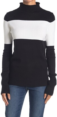 French Connection Colorblock Mock Neck Sweater
