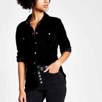 River Island Womens Black velvet long sleeve shirt