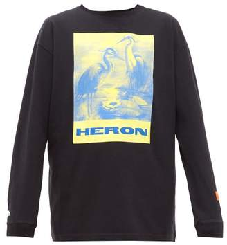 Heron Preston Heron-print Long-sleeve Cotton T-shirt - Mens - Black Multi