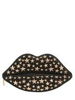 Lulu Guinness Studded Suede & Snakeskin Lip Clutch