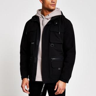 River Island Black hooded utility jacket