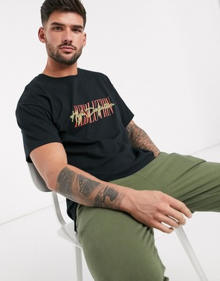 New Look high definition text print t-shirt in black