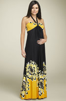 Maternity Floral Halter Maxi Dress