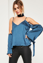 Missguided Blue Satin Cold Shoulder Tie Cuff Blouse