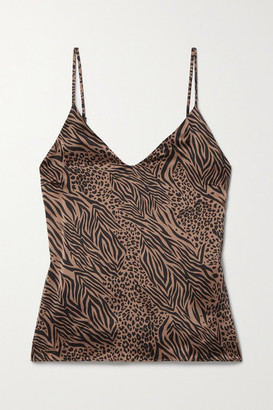 CAMI NYC The Olivia Animal-print Silk-charmeuse Camisole - Brown