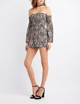 Charlotte Russe Printed Off-The-Shoulder Smocked Romper