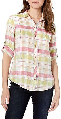 Foxcroft Reese Plaid UPF 50+ Roll Sleeve Shirt