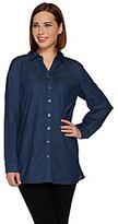 As Is Denim & Co. Regular Stretch Button Front Tunic with Pockets