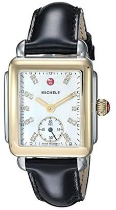 Michele Deco Mid Two-Tone, Diamond Dial On Black Patent Watch (Black Patent/Two-Tone) Watches