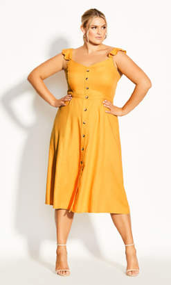 City Chic Button Cheer Dress - gold