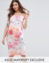 Asos Photographic Floral off Shoulder Dress