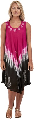 RG Clothing Women Ladies Plus Size Sleeveless Dress Dual Tone Tie Dye Printed Beach Summer Sundress for UK Size 12 to 24 Floral Printed Design (One Size (UK 12-24)