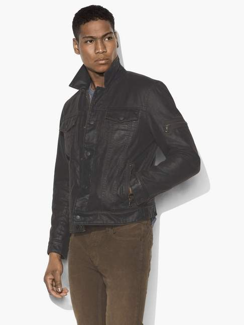 John Varvatos Sherpa-Lined Coated Trucker Jacket