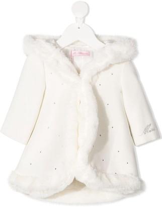 Miss Blumarine Faux-Fur Trim Coat