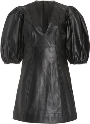 Ganni Puff-Sleeve Leather Mini Dress