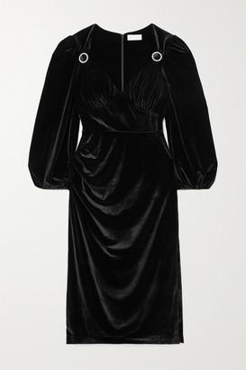 Rebecca Vallance Velluto Crystal-embellished Gathered Velvet Midi Dress - Black