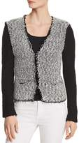 Donna Karan Color-Block Bouclé Cardigan