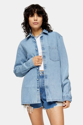 Topman Womens Mid Blue Denim Shirt - Mid Blue