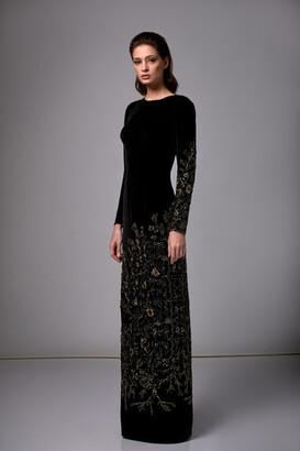 Edward Arsouni Beaded Long Sleeve Velvet Column Gown