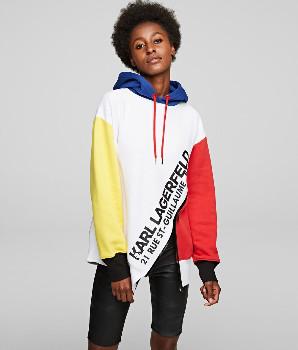 Karl Lagerfeld Paris Asymmetric Hem Diagonal Zipper Hoodie - S .