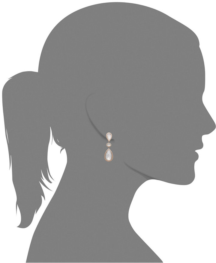 Mother of Pearl 14k Rose Gold Earrings, 3-Stone Crystal Quartz (26-1/3 ct. t.w.) and Accent Drop Earrings