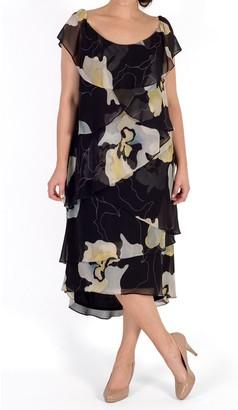 Chesca Floral Layered Dress, Black/Multi
