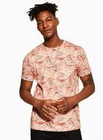 Topman Ecru Marble Printed T-Shirt