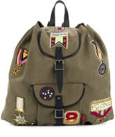 Valentino badge embroidered backpack