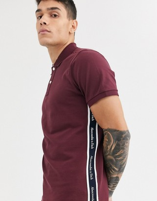 Abercrombie & Fitch icon & tape logo pique polo in burgundy