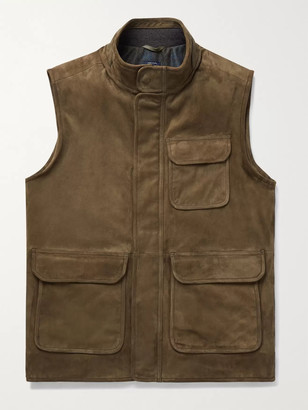 Peter Millar Suede Gilet - Men - Green