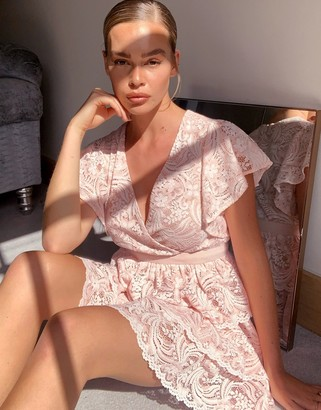 Forever U tiered lace mini dress in blush