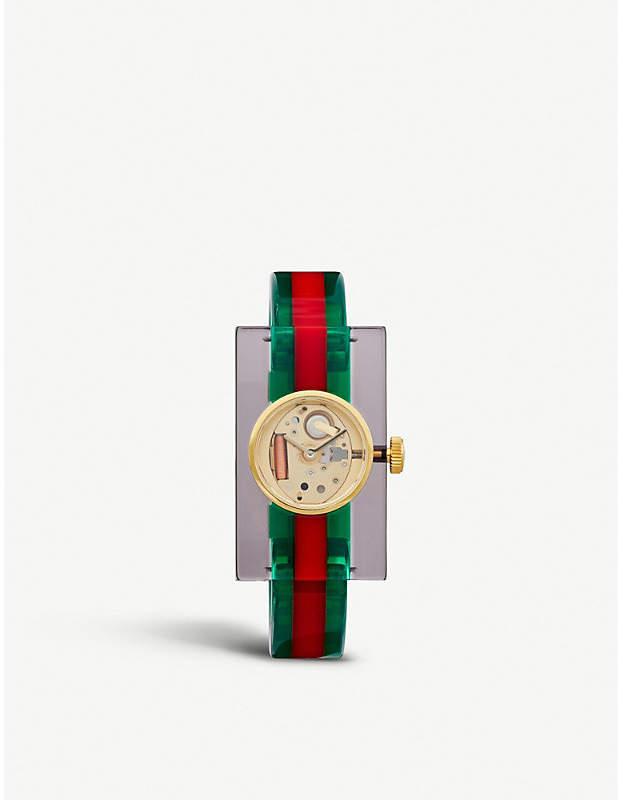 Gucci Plexiglas transparent studded watch