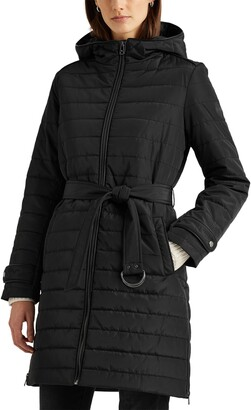 Lauren Ralph Lauren Belted Hooded Quilted Coat