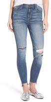 Women's Sp Black Step Hem Ripped Skinny Jeans