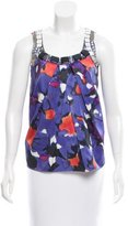 Magaschoni Watercolor Print Silk Top