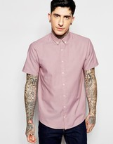 Lindbergh Oxford Shirt In Pink Short Sleeves In Tight Slim Fit